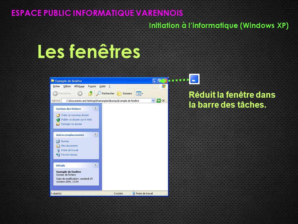Les fenêtres ESPACE PUBLIC INFORMATIQUE VARENNOIS Initiation à l'informatique (Windows XP) Réduit la fenêtre dans la barre des tâches.