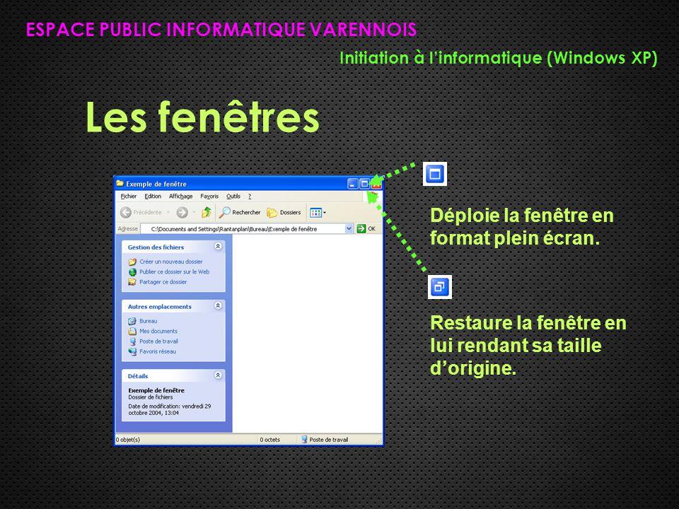 Les fenêtres ESPACE PUBLIC INFORMATIQUE VARENNOIS Initiation à l'informatique (Windows XP) Déploie la fenêtre en format plein écran. Restaure la fenêt