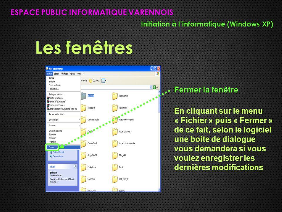 Les fenêtres ESPACE PUBLIC INFORMATIQUE VARENNOIS Initiation à l'informatique (Windows XP) Fermer la fenêtre En cliquant sur le menu « Fichier » puis « Fermer » de ce fait, selon le logiciel une boîte de dialogue vous demandera si vous voulez enregistrer les dernières modifications