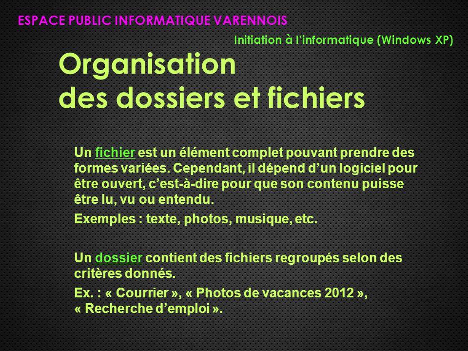 Organisation des dossiers et fichiers ESPACE PUBLIC INFORMATIQUE VARENNOIS Initiation à l'informatique (Windows XP) Un fichier est un élément complet