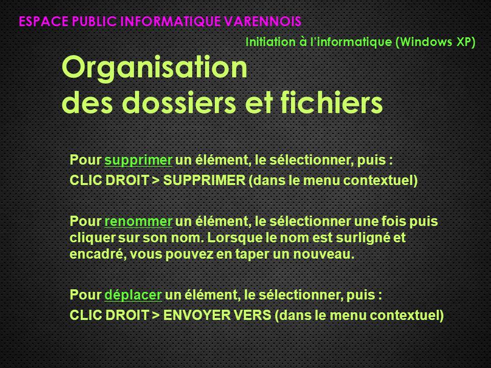 Organisation des dossiers et fichiers ESPACE PUBLIC INFORMATIQUE VARENNOIS Initiation à l'informatique (Windows XP) Pour supprimer un élément, le séle