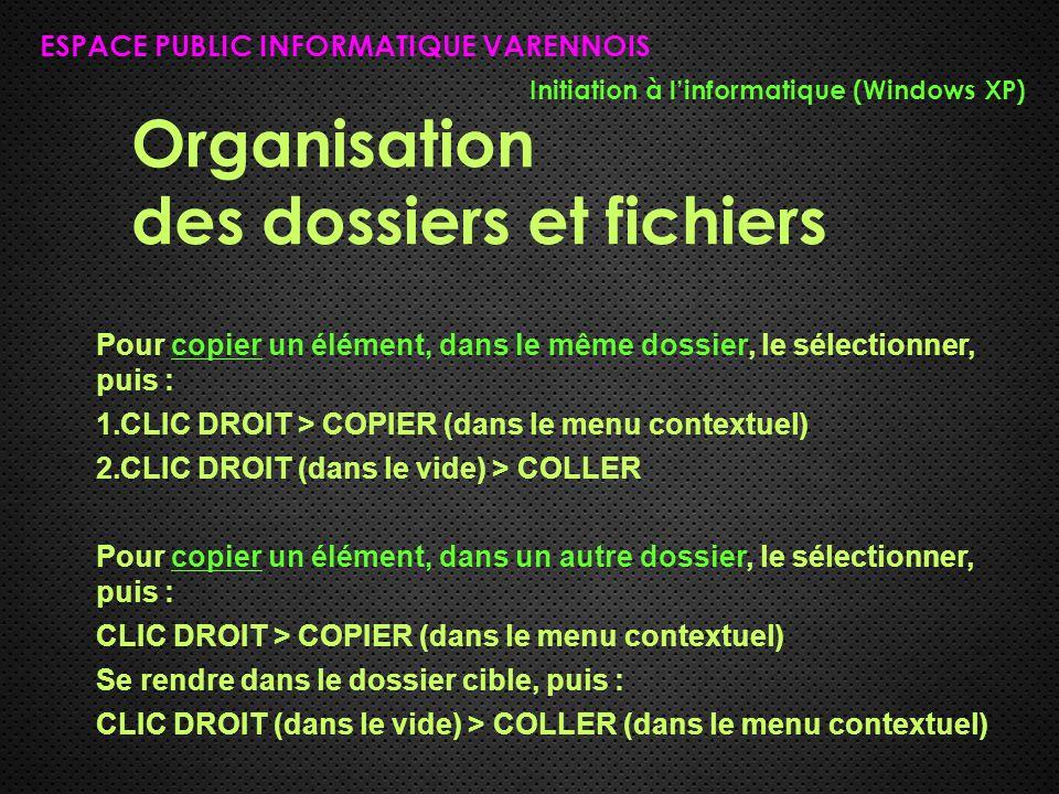 Organisation des dossiers et fichiers ESPACE PUBLIC INFORMATIQUE VARENNOIS Initiation à l'informatique (Windows XP) Pour copier un élément, dans le même dossier, le sélectionner, puis : 1.CLIC DROIT > COPIER (dans le menu contextuel) 2.CLIC DROIT (dans le vide) > COLLER Pour copier un élément, dans un autre dossier, le sélectionner, puis : CLIC DROIT > COPIER (dans le menu contextuel) Se rendre dans le dossier cible, puis : CLIC DROIT (dans le vide) > COLLER (dans le menu contextuel)