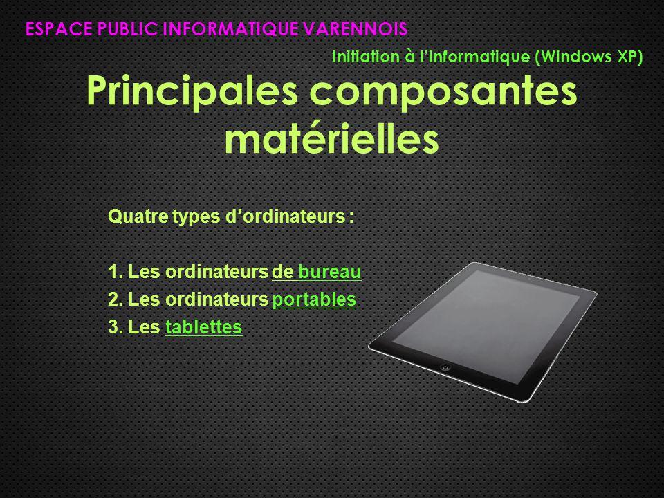 Le bureau ESPACE PUBLIC INFORMATIQUE VARENNOIS Initiation à l'informatique (Windows XP) Le « bureau » d'un ordinateur est la représentation du bureau conventionnel.