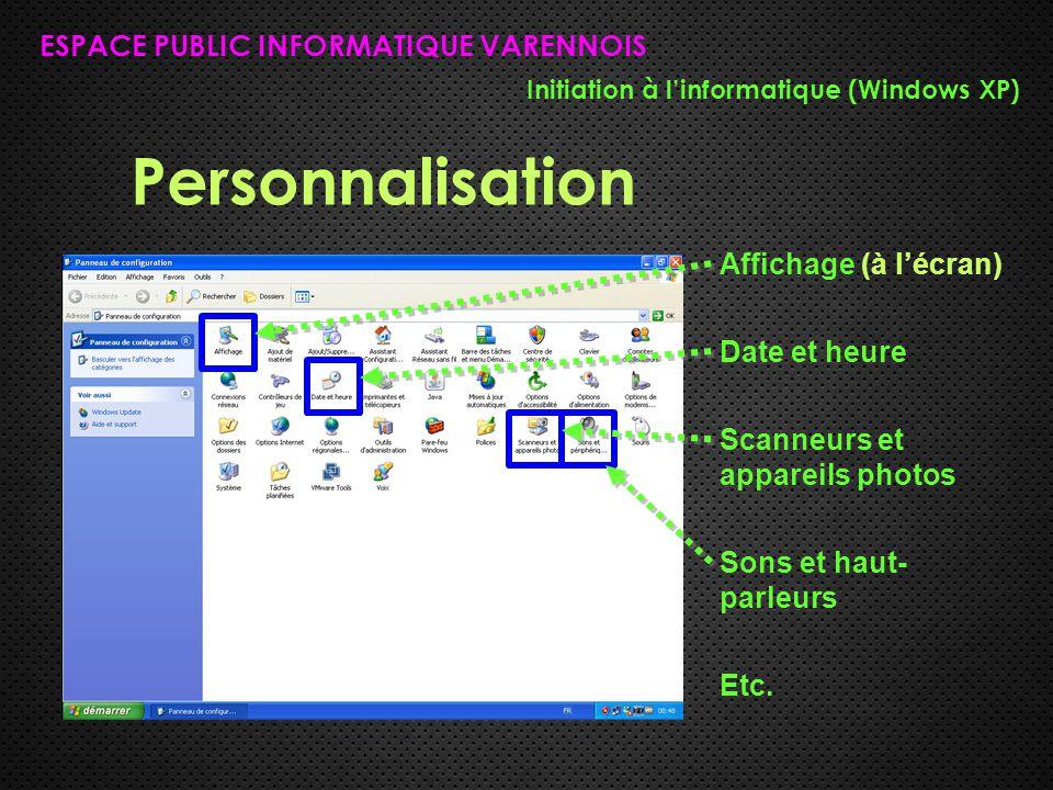 Personnalisation ESPACE PUBLIC INFORMATIQUE VARENNOIS Initiation à l'informatique (Windows XP) Affichage (à l'écran) Date et heure Scanneurs et appareils photos Sons et haut- parleurs Etc.