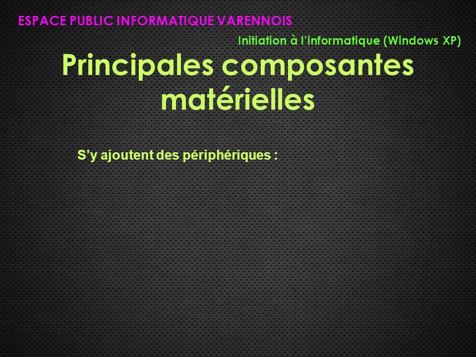 Principales composantes matérielles ESPACE PUBLIC INFORMATIQUE VARENNOIS Initiation à l'informatique (Windows XP) S'y ajoutent des périphériques :