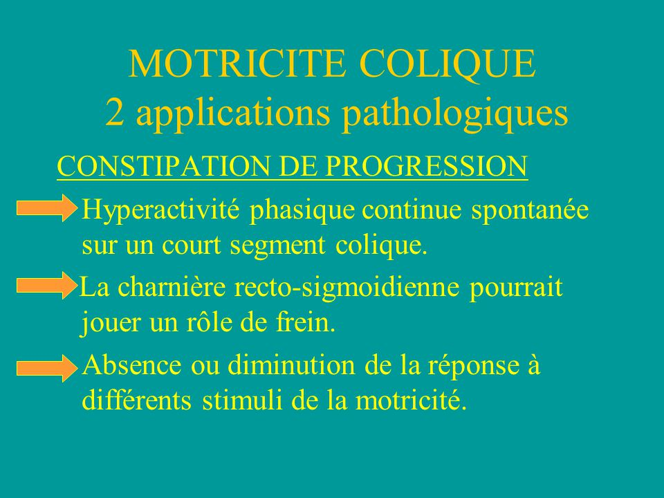 MOTRICITE COLIQUE 2 applications pathologiques CONSTIPATION DE PROGRESSION Hyperactivité phasique continue spontanée sur un court segment colique.