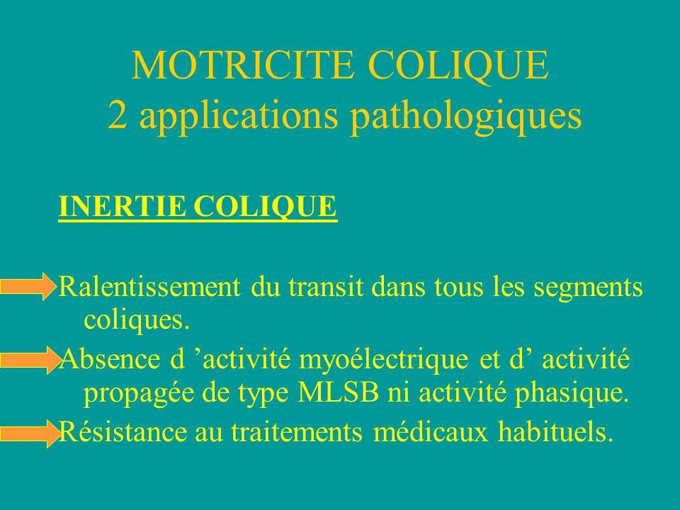 MOTRICITE COLIQUE 2 applications pathologiques INERTIE COLIQUE Ralentissement du transit dans tous les segments coliques.