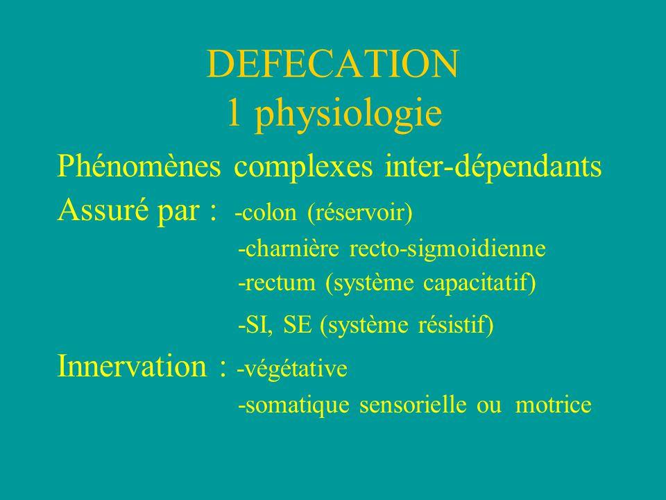 DEFECATION 1 physiologie Phénomènes complexes inter-dépendants Assuré par : -colon (réservoir) -charnière recto-sigmoidienne -rectum (système capacitatif) -SI, SE (système résistif) Innervation : -végétative -somatique sensorielle ou motrice