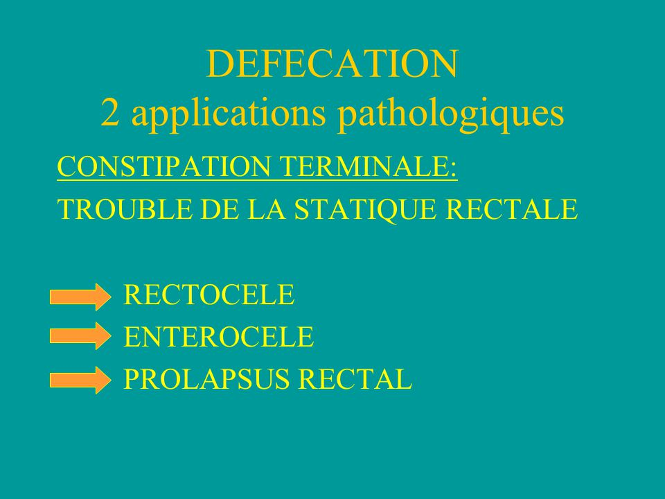 DEFECATION 2 applications pathologiques CONSTIPATION TERMINALE: TROUBLE DE LA STATIQUE RECTALE RECTOCELE ENTEROCELE PROLAPSUS RECTAL