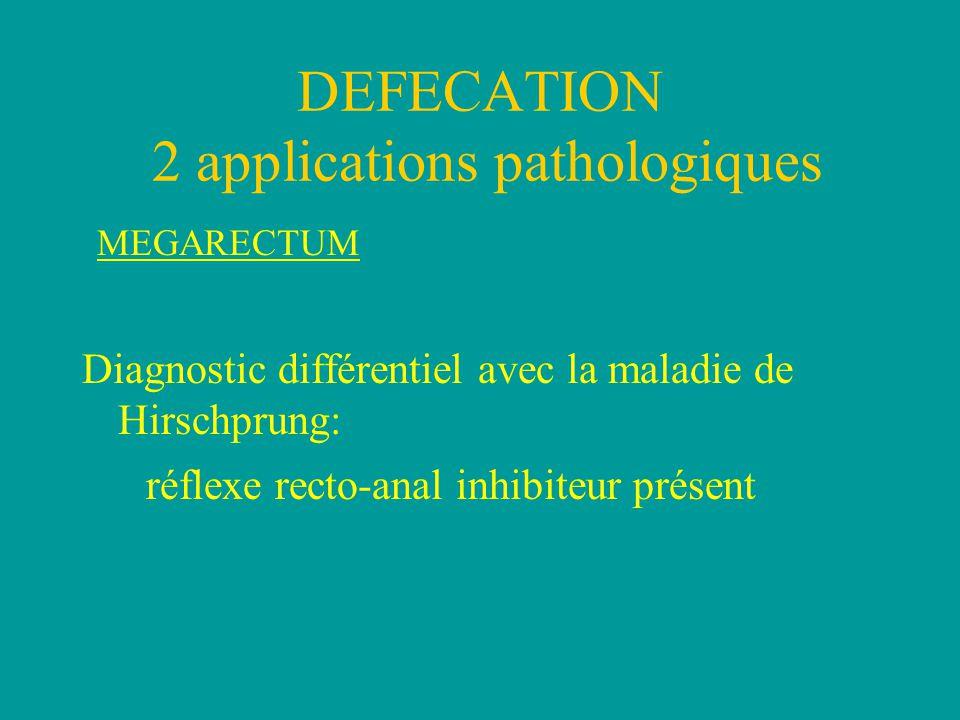 MEGARECTUM Diagnostic différentiel avec la maladie de Hirschprung: réflexe recto-anal inhibiteur présent DEFECATION 2 applications pathologiques