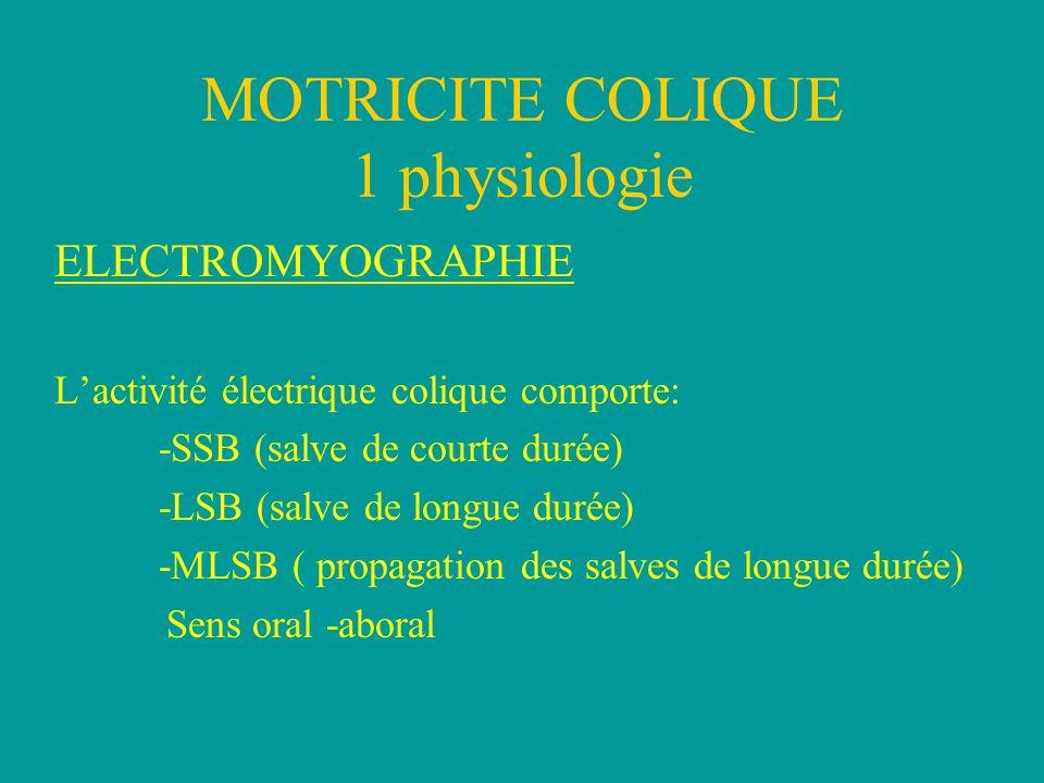 MOTRICITE COLIQUE 1 physiologie ELECTROMYOGRAPHIE A jeun: -LSB colon distal > colon proximal -SSB colon distal = colon proximal Réponse au repas: Augmentation des LSB et MLSB sans modification des SSB.