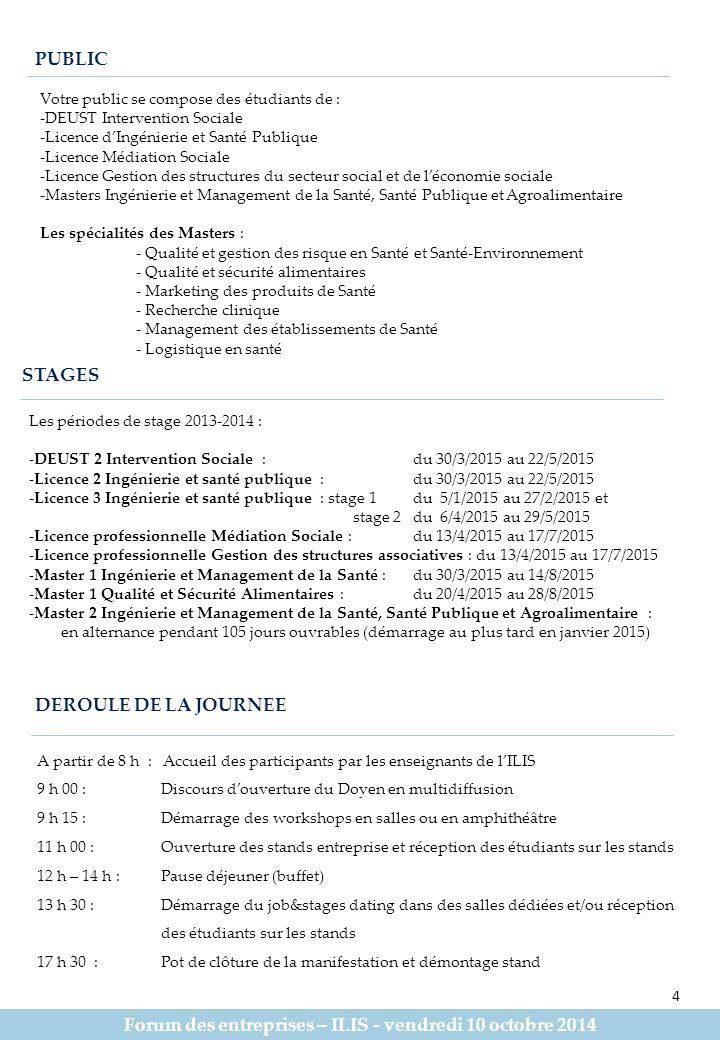 Forum des entreprises – ILIS - vendredi 10 octobre 2014 PUBLIC STAGES DEROULE DE LA JOURNEE A partir de 8 h : Accueil des participants par les enseignants de l'ILIS 9 h 00 : Discours d'ouverture du Doyen en multidiffusion 9 h 15 : Démarrage des workshops en salles ou en amphithéâtre 11 h 00 : Ouverture des stands entreprise et réception des étudiants sur les stands 12 h – 14 h : Pause déjeuner (buffet) 13 h 30 : Démarrage du job&stages dating dans des salles dédiées et/ou réception des étudiants sur les stands 17 h 30 : Pot de clôture de la manifestation et démontage stand Votre public se compose des étudiants de : -DEUST Intervention Sociale -Licence d'Ingénierie et Santé Publique -Licence Médiation Sociale -Licence Gestion des structures du secteur social et de l'économie sociale -Masters Ingénierie et Management de la Santé, Santé Publique et Agroalimentaire Les spécialités des Masters : - Qualité et gestion des risque en Santé et Santé-Environnement - Qualité et sécurité alimentaires - Marketing des produits de Santé - Recherche clinique - Management des établissements de Santé - Logistique en santé Les périodes de stage 2013-2014 : -DEUST 2 Intervention Sociale : du 30/3/2015 au 22/5/2015 -Licence 2 Ingénierie et santé publique :du 30/3/2015 au 22/5/2015 -Licence 3 Ingénierie et santé publique : stage 1du 5/1/2015 au 27/2/2015 et stage 2 du 6/4/2015 au 29/5/2015 -Licence professionnelle Médiation Sociale :du 13/4/2015 au 17/7/2015 -Licence professionnelle Gestion des structures associatives : du 13/4/2015 au 17/7/2015 -Master 1 Ingénierie et Management de la Santé :du 30/3/2015 au 14/8/2015 -Master 1 Qualité et Sécurité Alimentaires :du 20/4/2015 au 28/8/2015 -Master 2 Ingénierie et Management de la Santé, Santé Publique et Agroalimentaire : en alternance pendant 105 jours ouvrables (démarrage au plus tard en janvier 2015) 4