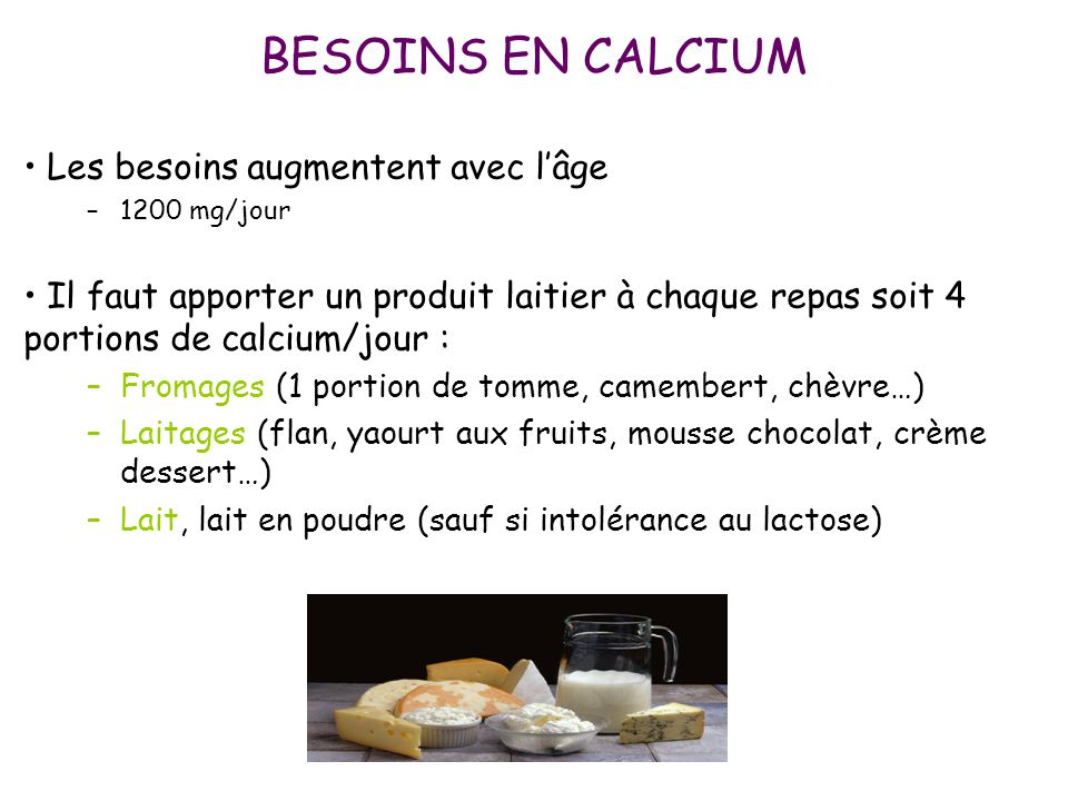 BESOINS EN CALCIUM Les besoins augmentent avec l'âge –1200 mg/jour Il faut apporter un produit laitier à chaque repas soit 4 portions de calcium/jour