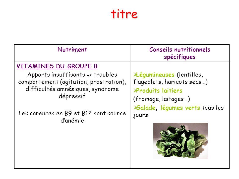 NutrimentConseils nutritionnels spécifiques VITAMINES DU GROUPE B Apports insuffisants => troubles comportement (agitation, prostration), difficultés