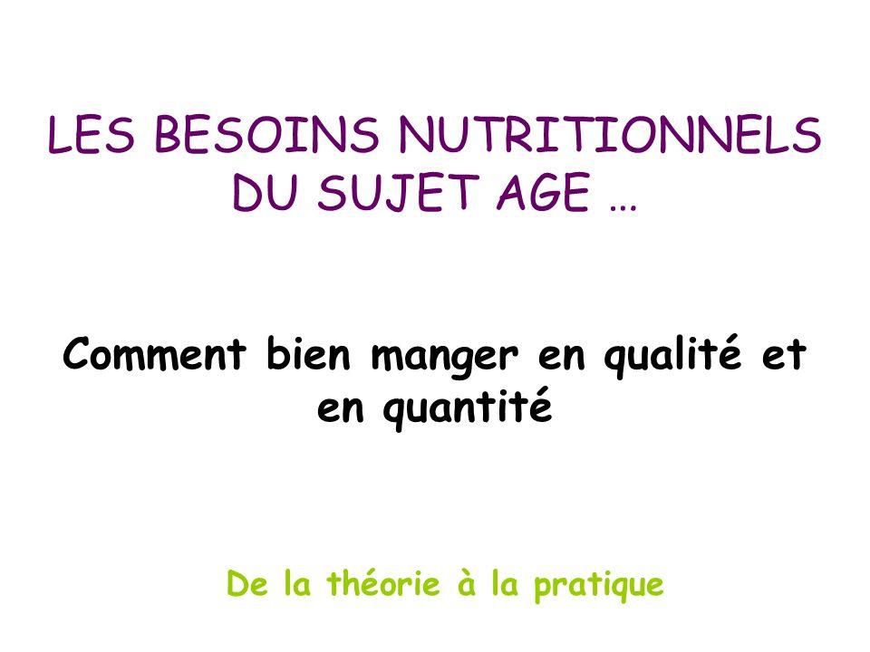 LES BESOINS NUTRITIONNELS DU SUJET AGE … De la théorie à la pratique Comment bien manger en qualité et en quantité
