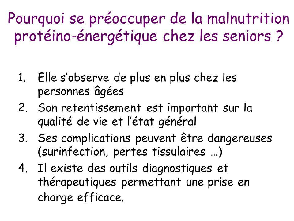Pourquoi se préoccuper de la malnutrition protéino-énergétique chez les seniors ? 1.Elle s'observe de plus en plus chez les personnes âgées 2.Son rete