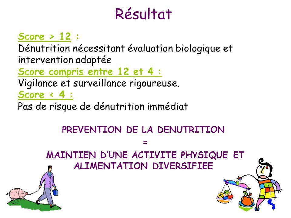 Score > 12 : Dénutrition nécessitant évaluation biologique et intervention adaptée Score compris entre 12 et 4 : Vigilance et surveillance rigoureuse.