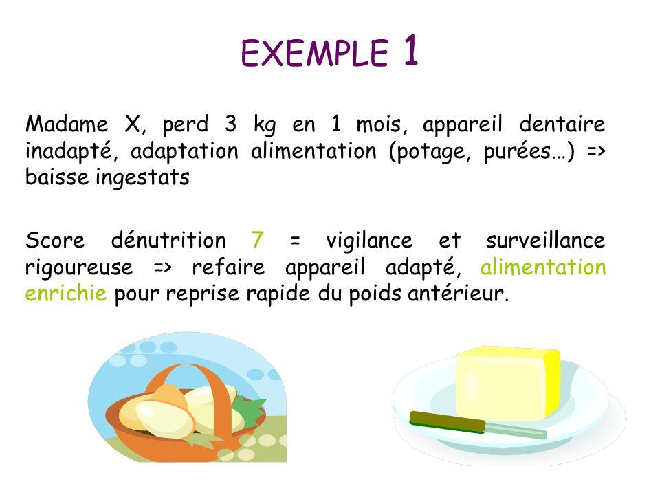 EXEMPLE 1 Madame X, perd 3 kg en 1 mois, appareil dentaire inadapté, adaptation alimentation (potage, purées…) => baisse ingestats Score dénutrition 7