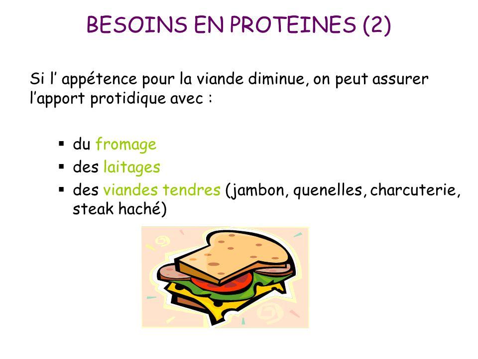 BESOINS EN PROTEINES (2) Si l' appétence pour la viande diminue, on peut assurer l'apport protidique avec :  du fromage  des laitages  des viandes