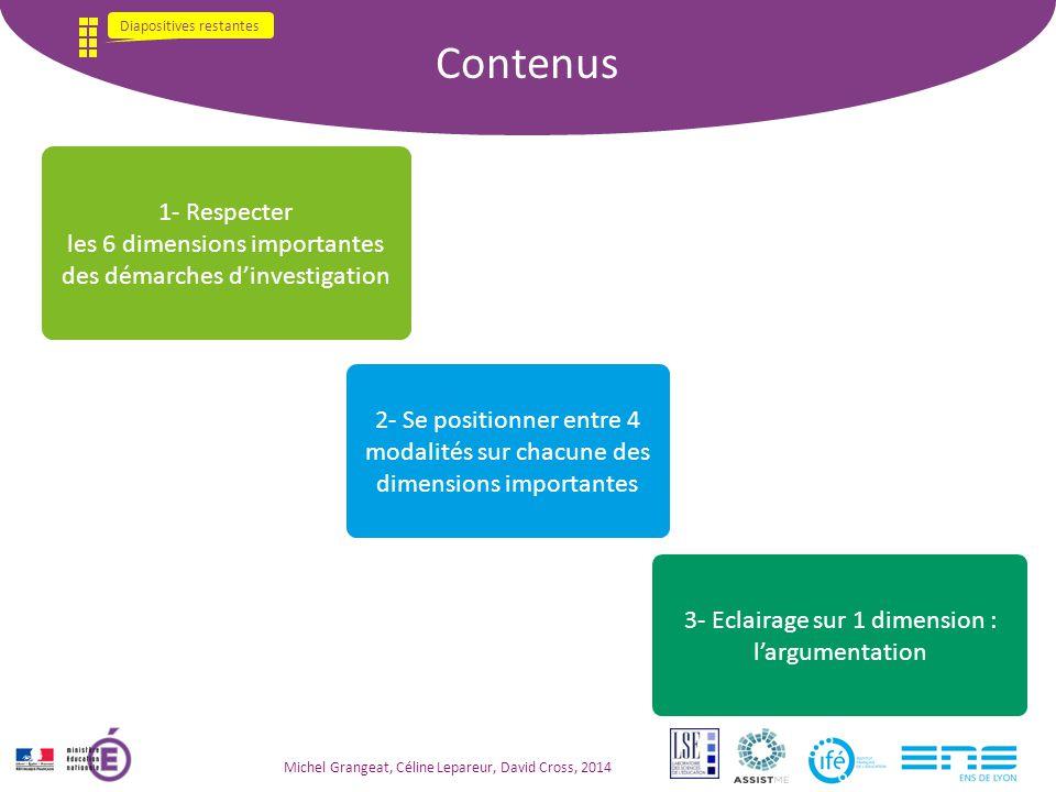 les dimensions importantes Michel Grangeat, Céline Lepareur, David Cross, 2014 Ce diaporama vise à présenter les 6 dimensions importantes des stratégies d'enseignement des sciences fondé sur les démarches d'investigation.