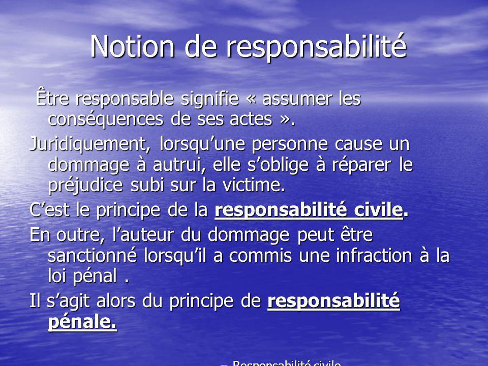 Notion de responsabilité Être responsable signifie « assumer les conséquences de ses actes ».