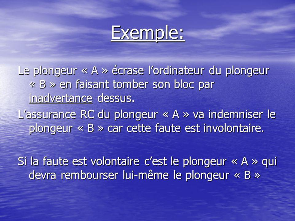 Exemple: Le plongeur « A » écrase l'ordinateur du plongeur « B » en faisant tomber son bloc par inadvertance dessus.