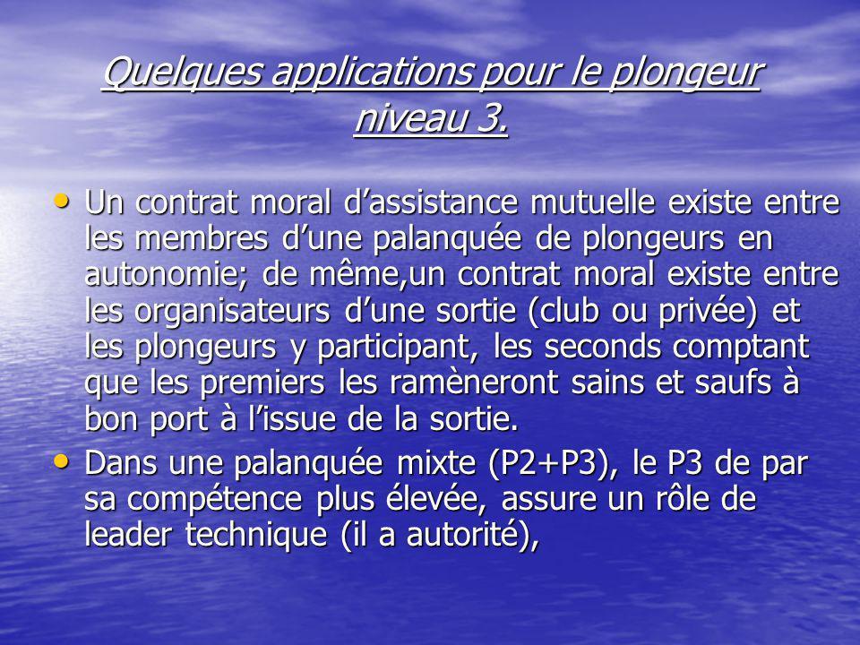 Quelques applications pour le plongeur niveau 3.