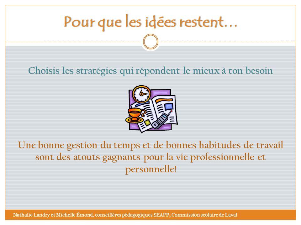 Pour que les idées restent…Pour que les idées restent… Choisis les stratégies qui répondent le mieux à ton besoin Une bonne gestion du temps et de bon