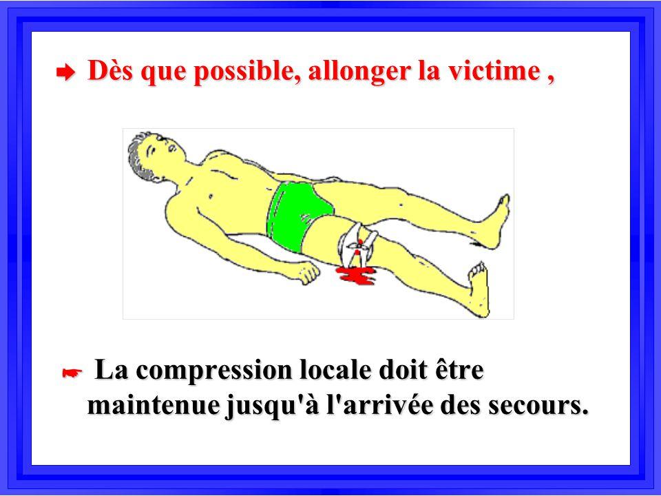 è Dès que possible, allonger la victime, * La compression locale doit être maintenue jusqu'à l'arrivée des secours.