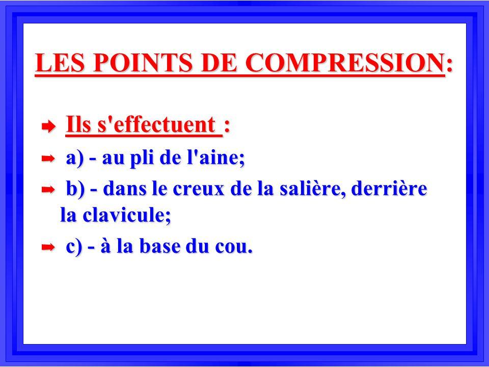 LES POINTS DE COMPRESSION: è Ils s'effectuent : á a) - au pli de l'aine; á b) - dans le creux de la salière, derrière la clavicule; á c) - à la base d