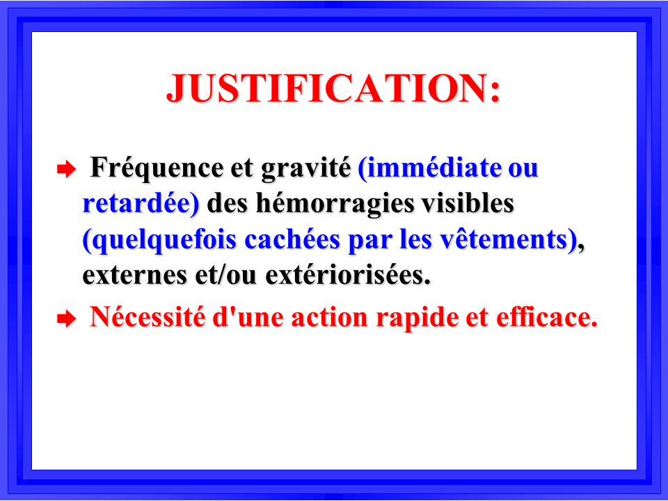 JUSTIFICATION: è Fréquence et gravité (immédiate ou retardée) des hémorragies visibles (quelquefois cachées par les vêtements), externes et/ou extério