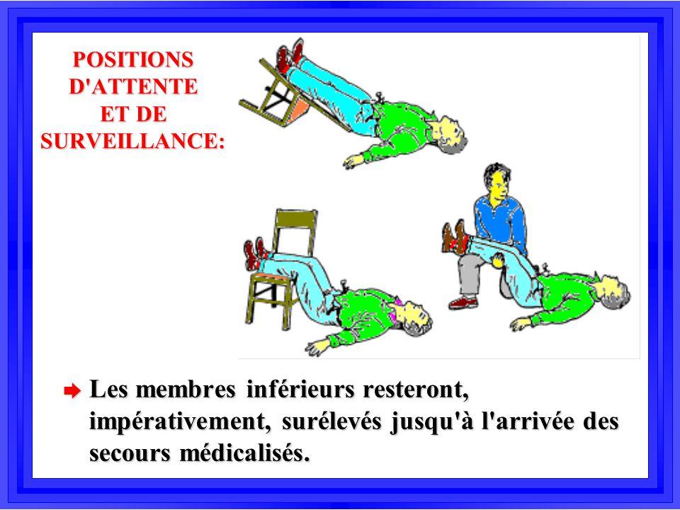 POSITIONS D'ATTENTE ET DE SURVEILLANCE: è Les membres inférieurs resteront, impérativement, surélevés jusqu'à l'arrivée des secours médicalisés.