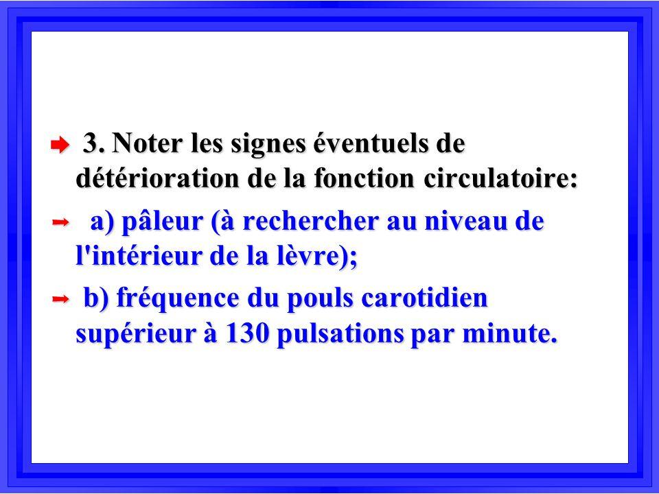 è 3. Noter les signes éventuels de détérioration de la fonction circulatoire: Þ a) pâleur (à rechercher au niveau de l'intérieur de la lèvre); Þ b) fr