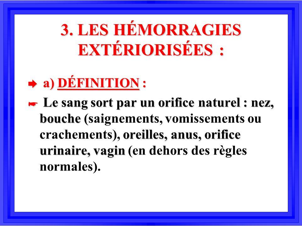 3. LES HÉMORRAGIES EXTÉRIORISÉES : è a) DÉFINITION : * Le sang sort par un orifice naturel : nez, bouche oreilles, anus, orifice urinaire, vagin * Le