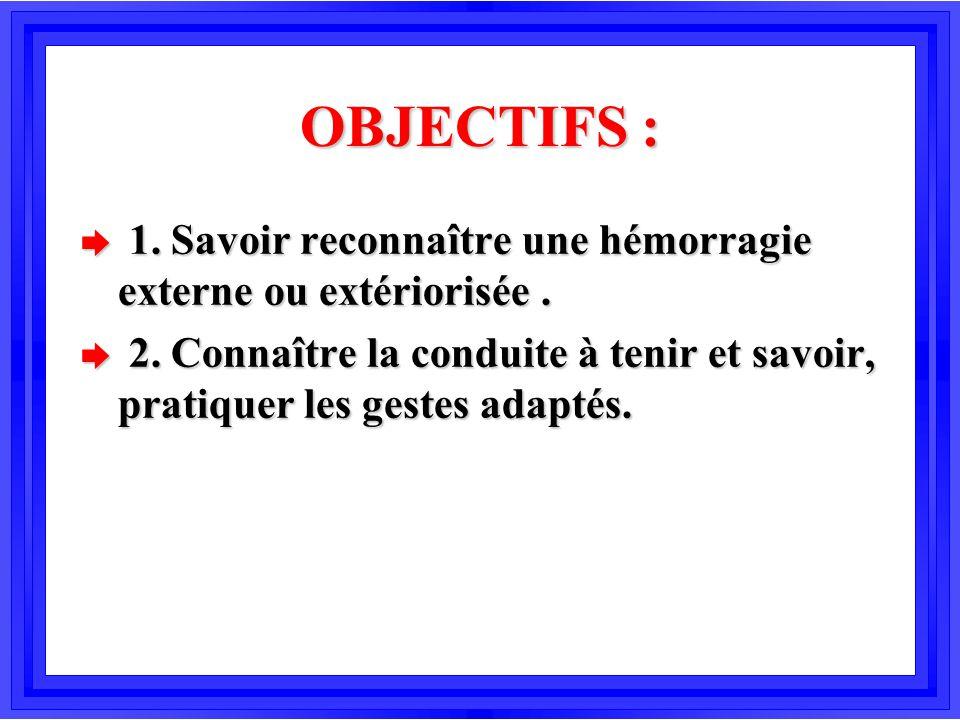 OBJECTIFS : è 1. Savoir reconnaître une hémorragie externe ou extériorisée. è 2. Connaître la conduite à tenir et savoir, pratiquer les gestes adaptés