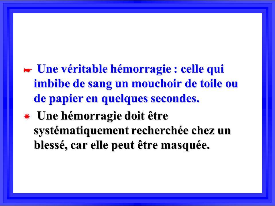 * Une véritable hémorragie : celle qui imbibe de sang un mouchoir de toile ou de papier en quelques secondes. X Une hémorragie doit être systématiquem