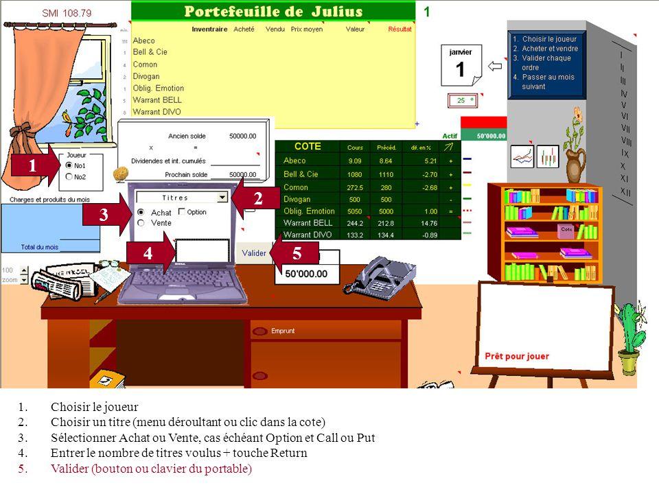 1 3 4 2 5 1.Choisir le joueur 2.Choisir un titre (menu déroultant ou clic dans la cote) 3.Sélectionner Achat ou Vente, cas échéant Option et Call ou Put 4.Entrer le nombre de titres voulus + touche Return 5.Valider (bouton ou clavier du portable)