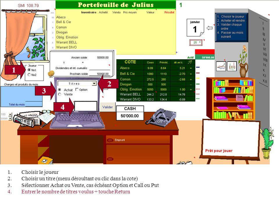 1 3 4 2 1.Choisir le joueur 2.Choisir un titre (menu déroultant ou clic dans la cote) 3.Sélectionner Achat ou Vente, cas échéant Option et Call ou Put 4.Entrer le nombre de titres voulus + touche Return