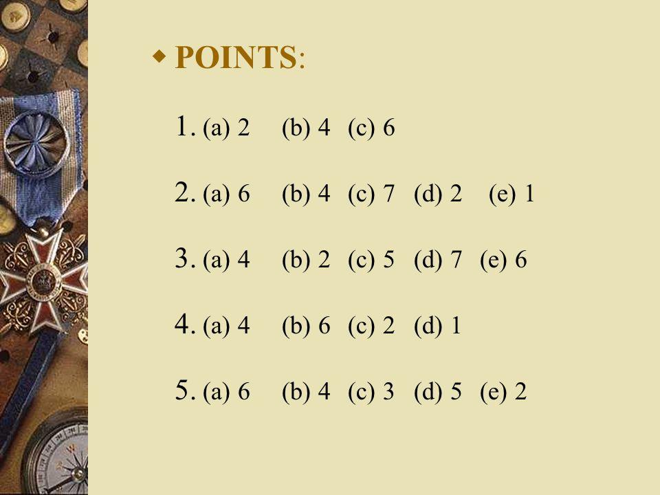  POINTS: 1. (a) 2 (b) 4 (c) 6 2. (a) 6 (b) 4 (c) 7 (d) 2 (e) 1 3. (a) 4 (b) 2 (c) 5 (d) 7 (e) 6 4. (a) 4 (b) 6 (c) 2 (d) 1 5. (a) 6 (b) 4 (c) 3 (d) 5