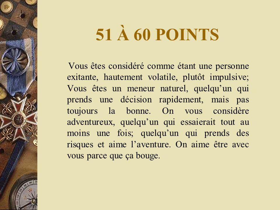51 À 60 POINTS Vous êtes considéré comme étant une personne exitante, hautement volatile, plutôt impulsive; Vous êtes un meneur naturel, quelqu'un qui