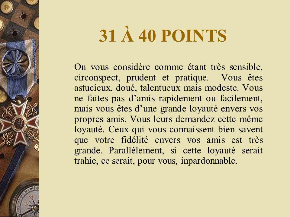 31 À 40 POINTS On vous considère comme étant très sensible, circonspect, prudent et pratique.