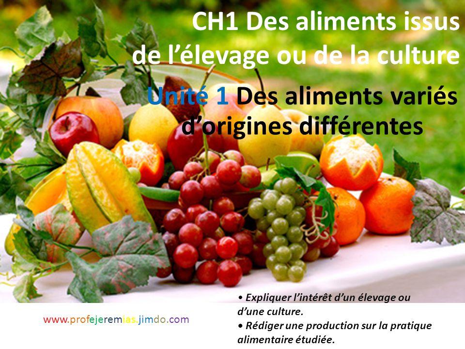 Quels sont les aliments issus de l'elevage et ceux issus des cultures? www.profejeremias.jimdo.com