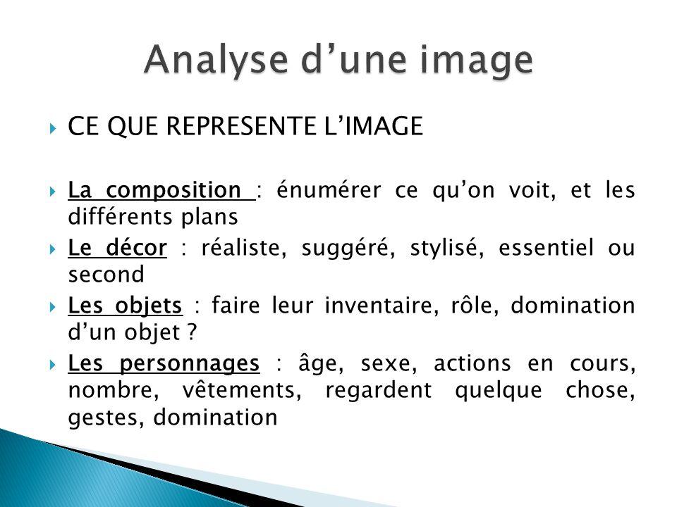  CE QUE REPRESENTE L'IMAGE  La composition : énumérer ce qu'on voit, et les différents plans  Le décor : réaliste, suggéré, stylisé, essentiel ou s