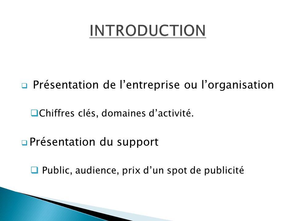  Présentation de l'entreprise ou l'organisation  Chiffres clés, domaines d'activité.  Présentation du support  Public, audience, prix d'un spot de