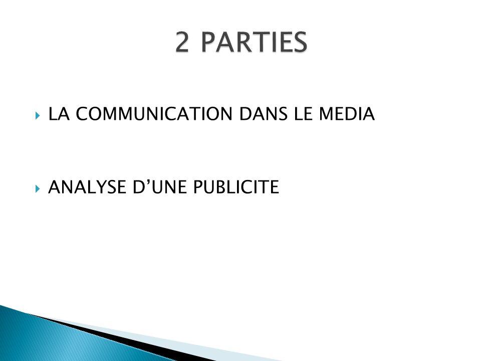  LA COMMUNICATION DANS LE MEDIA  ANALYSE D'UNE PUBLICITE