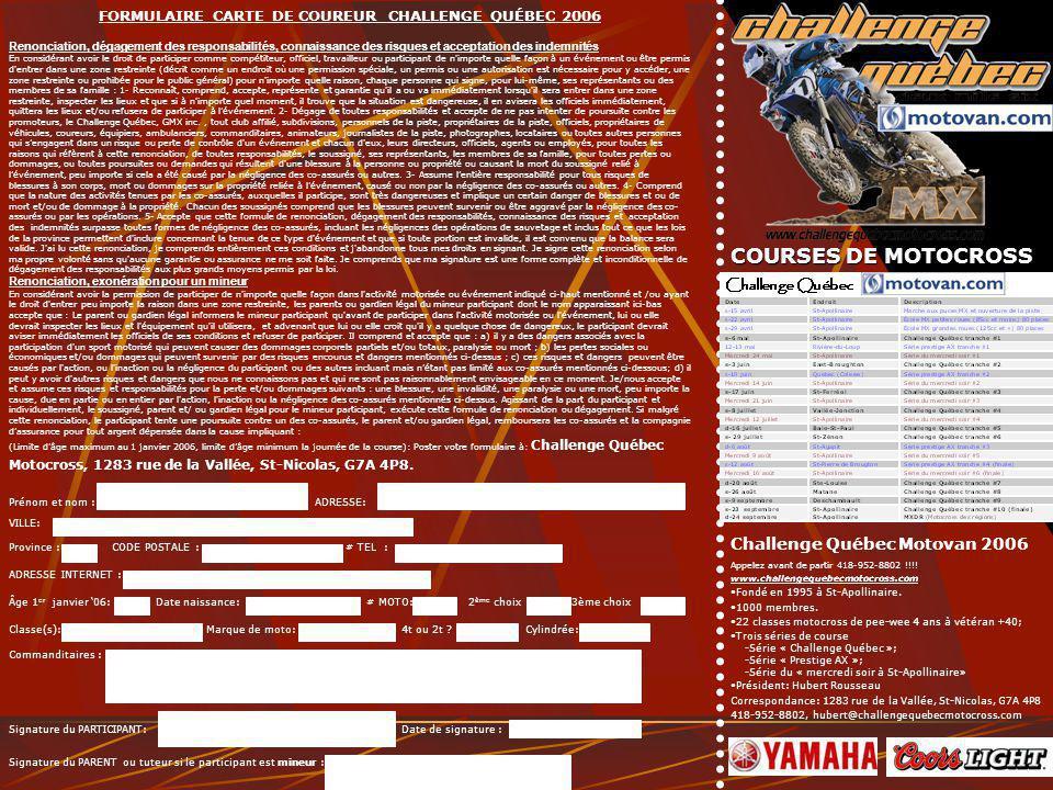 FORMULAIRE CARTE DE COUREUR CHALLENGE QUÉBEC 2006 Renonciation, dégagement des responsabilités, connaissance des risques et acceptation des indemnités