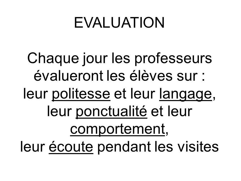 EVALUATION Chaque jour les professeurs évalueront les élèves sur : leur politesse et leur langage, leur ponctualité et leur comportement, leur écoute