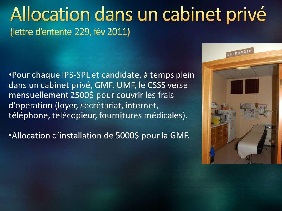 Pour chaque IPS-SPL et candidate, à temps plein dans un cabinet privé, GMF, UMF, le CSSS verse mensuellement 2500$ pour couvrir les frais d'opération (loyer, secrétariat, internet, téléphone, télécopieur, fournitures médicales).