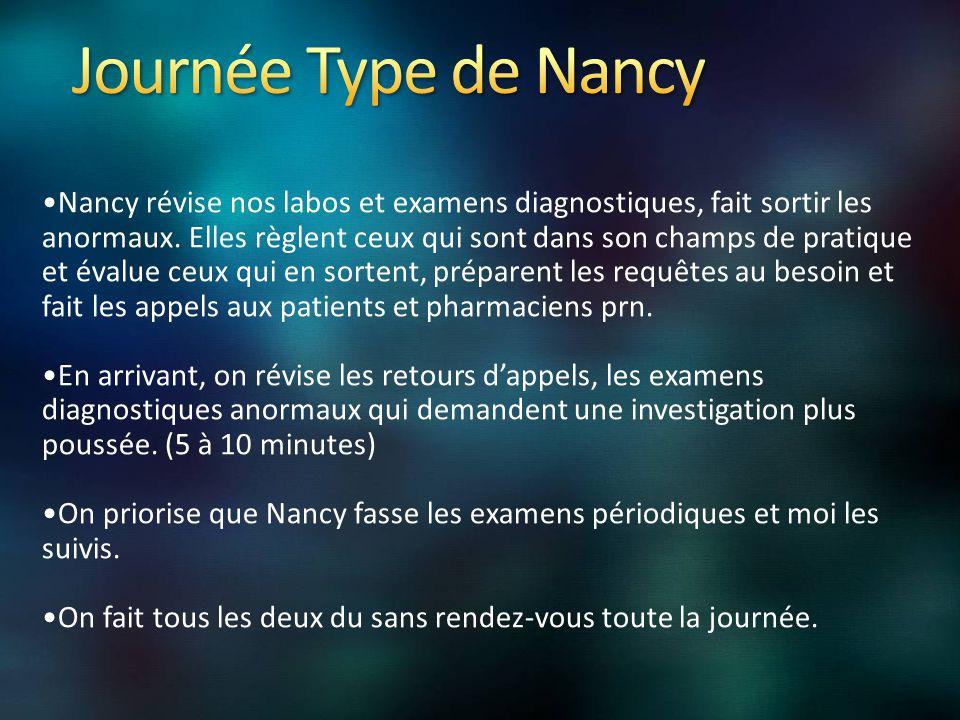 Nancy révise nos labos et examens diagnostiques, fait sortir les anormaux.