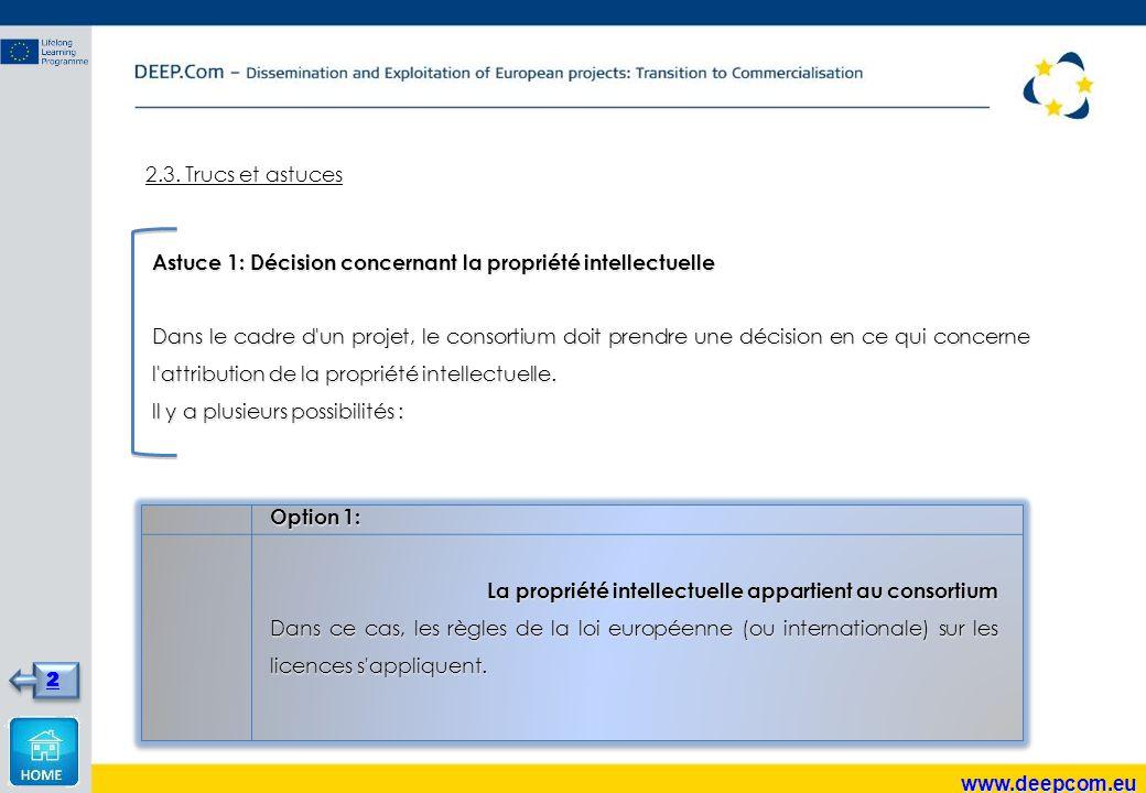2.3. Trucs et astuces Astuce 1: Décision concernant la propriété intellectuelle Dans le cadre d'un projet, le consortium doit prendre une décision en